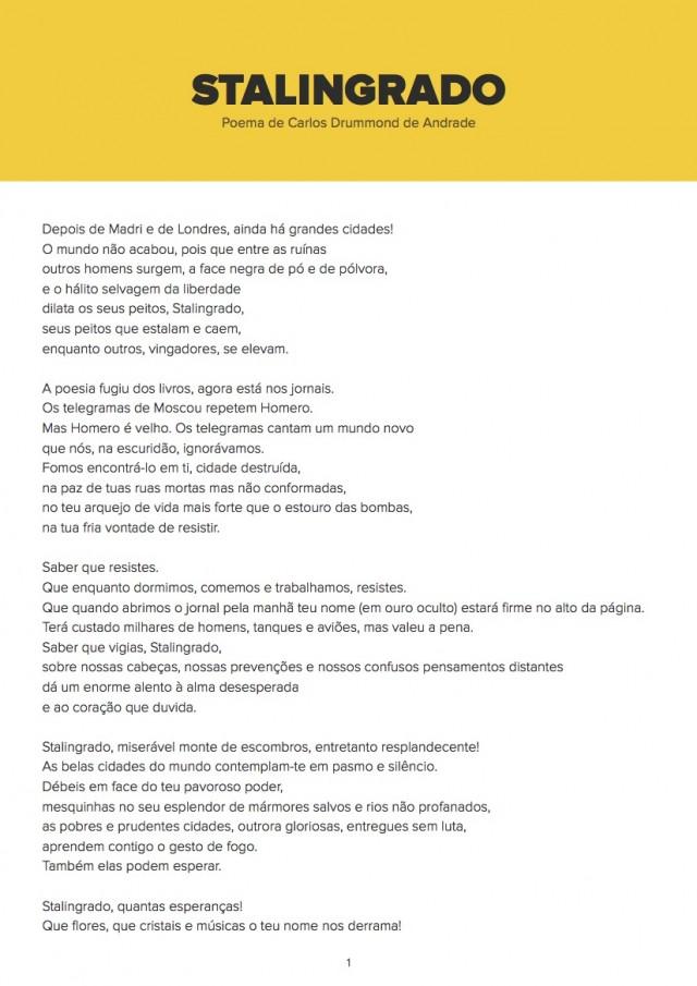 """""""Carta a Stalingrado"""", poema de Carlos Drummond de Andrade publicado em seulivro """"A Rosa do Povo"""" (1945)"""