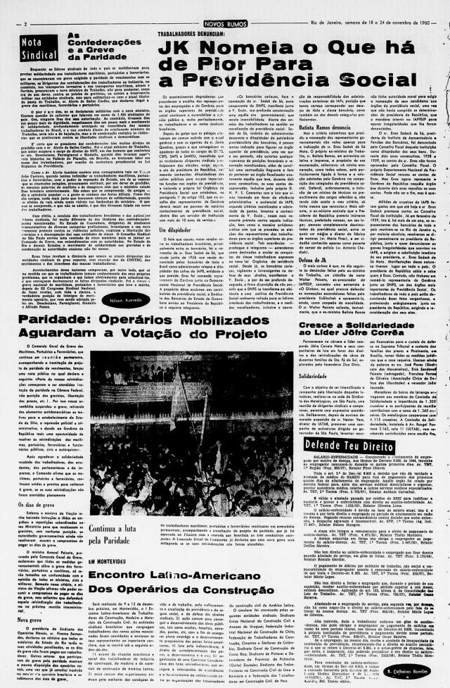 Página do jornal Novos Rumos,  do Partido Comunista Brasileiro, edição de 18 a 24 de novembro de 1960, traz um artigoe umanotícia sobre a greve da paridade.