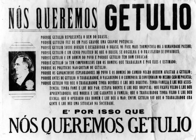 Cartaz queremista  lista uma série de feitos do presidente que justificariam sua manutenção no poder