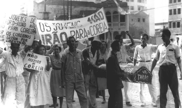 <strong> Manifesta&ccedil;&atilde;o</strong> de protesto&nbsp;contra o envio de tropas brasileiras&nbsp; &agrave; Coreia. Niter&oacute;i, dezembro de 1950