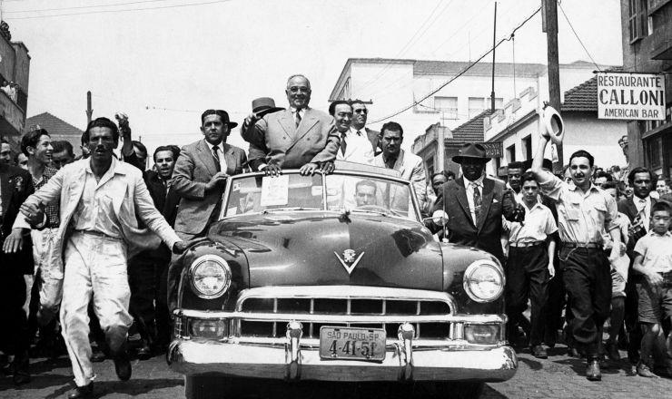 <strong> Get&uacute;lio Vargas</strong> em S&atilde;o Paulo durante a campanha &agrave; Presid&ecirc;ncia
