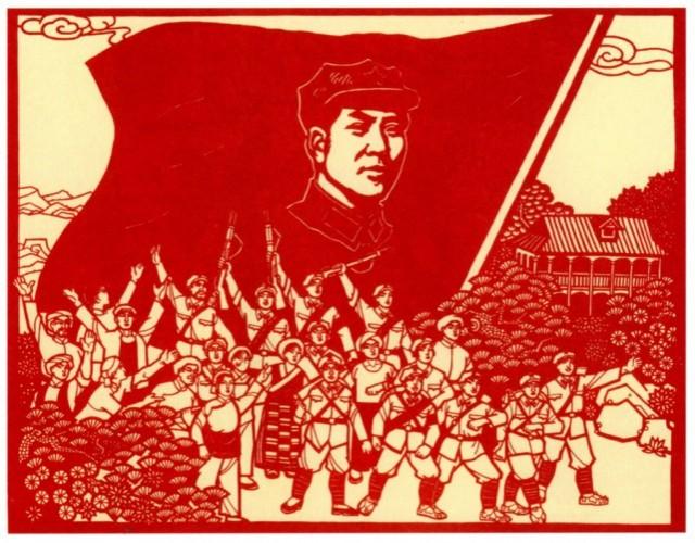 Cartaz registra deslocamento da Longa Marcha, iniciada em 1936, que culminaria com a votória da Revolução Chinesa em 1949