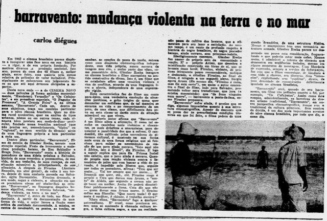 """Artigo de Cacá Diegues sobre o Cinema Novo e o filme Barravento no suplemento """"O Metropolitano"""", publicado e distribuído pela UNE edistribuído com o """"Diário de Notícias"""" , de 26 de maio de 1962"""