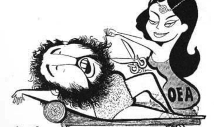 <strong> Simbolizando a OEA, mulher corta a barba de Fidel Castro, l&iacute;der de Cuba, </strong> em charge de Motta. Frente ao novo governo de Cuba, a OEA ficou dividida at&eacute; que se decidiu pela expuls&atilde;o do pa&iacute;s caribenho, &ldquo;por n&atilde;o possuir uma democracia&rdquo;