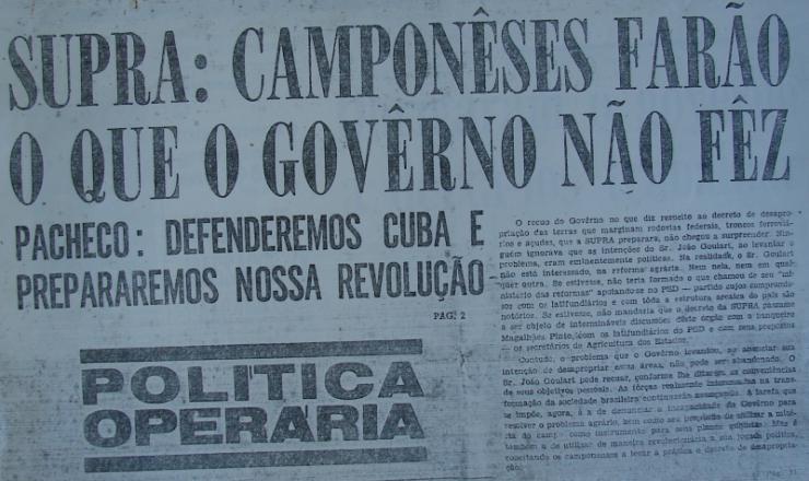 <strong> Exemplar do semanário 'Política Operária',  </strong> da organização Polop, edição nº 8 (15/1/1964 a 22/1/1964)