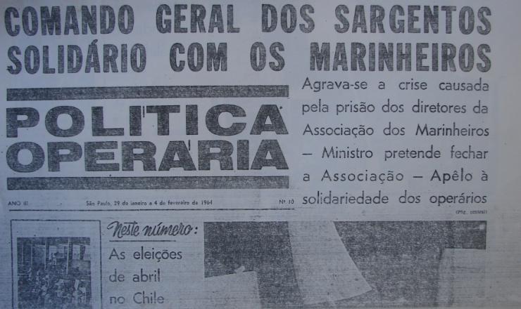 <strong> Exemplar do semanário 'Política Operária',  </strong> da organização Polop, edição nº 10 (29/1/1964 a 4/2/1964)