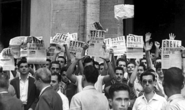 <strong> Manifesta&ccedil;&atilde;o de banc&aacute;rios grevistas </strong> no Rio de Janeiro, em 18 de outubro de 1961