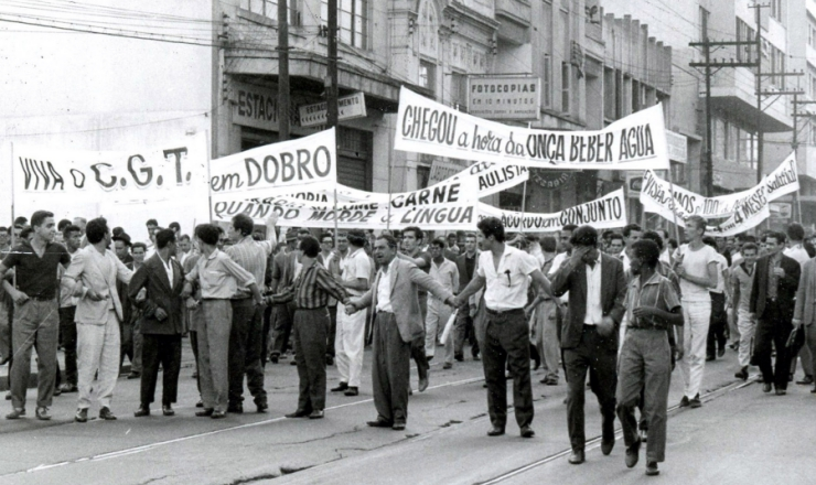 <strong> Passeata</strong> durante a greve dos 700 mil
