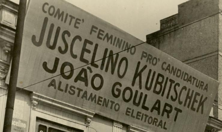 <strong> Fachada do comit&ecirc; feminino </strong> da candidatura JK-Jango na G&aacute;vea, Rio de Janeiro