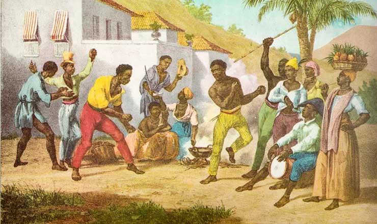 <strong> Pintura de Johann Moritz Rugendas do s&eacute;culo 19 mostra </strong> o jogo de capoeira j&aacute; sendo praticado no Brasil&nbsp;