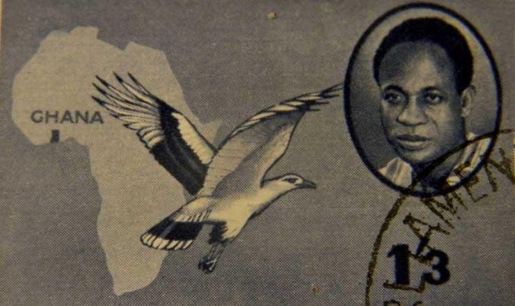 <strong> Kwame Nkrumah se destaca </strong> no selo postal lançado por ocasião da independência de Gana