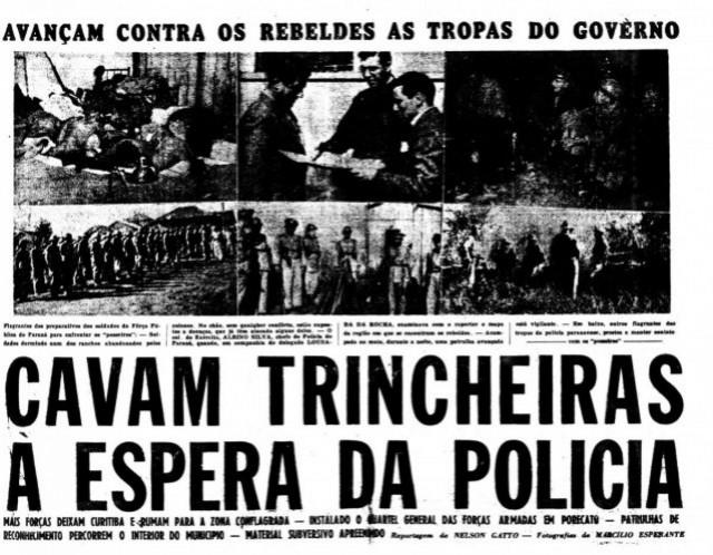 Jornal noticia resistência  dos camponeses à espera da chegada da polícia em Porecatu