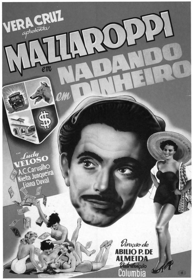 """Cartaz do filme """"Nadando em Dinheiro"""" (1952), de Abílio Pereira de Almeida"""