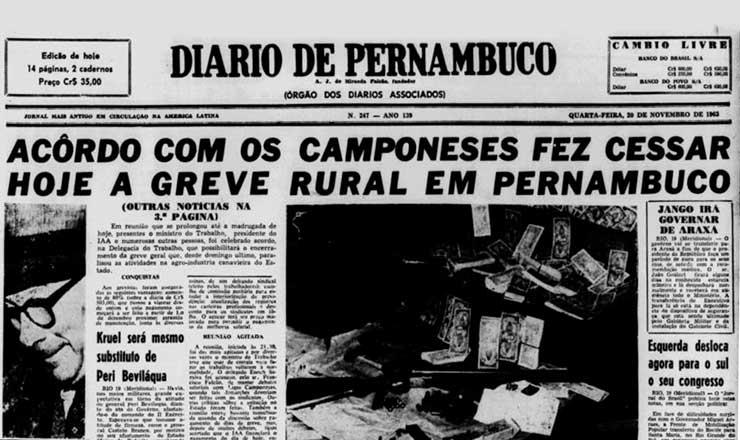 <strong> Jornal</strong> &quot;Diario de Pernambuco&quot;&nbsp;de 20 de novembro de 1963 destaca o acordo que p&ocirc;s fim &agrave; greve
