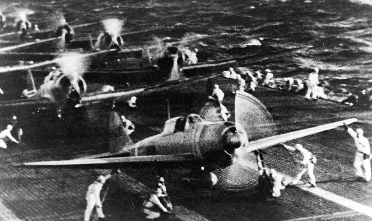 <strong> Avi&otilde;es japoneses </strong> partem para o bombardeio de Pearl Harbor&nbsp;