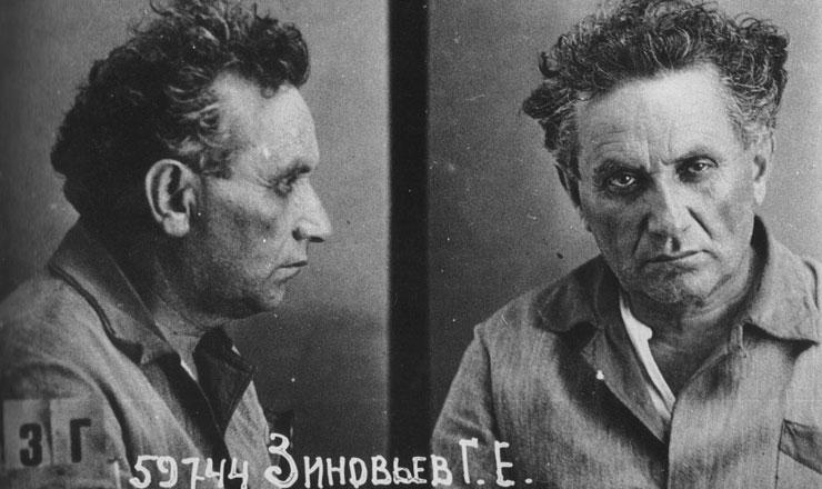 <strong> O dirigente bolchevique Grigori Zinoviev, </strong> em fotografia do prontuário da polícia política, ap&oacute;s sua pris&atilde;o em 1936