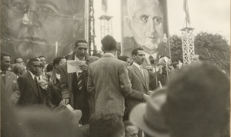 <strong> Com&iacute;cio&nbsp;</strong> pr&oacute;-candidatura do general Dutra em Barra do Piraí,&nbsp;Rio de Janeiro