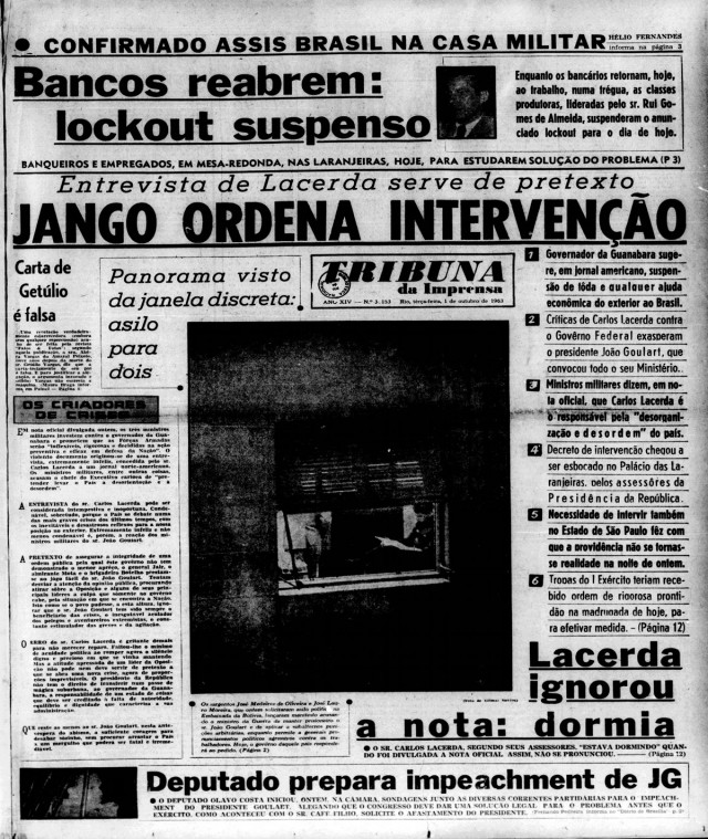"""Na capa de seu jornal , a""""Tribuna da Imprensa"""", Carlos Lacerda acusa o presidente João Goulartde tentar intervir na Guanabara"""