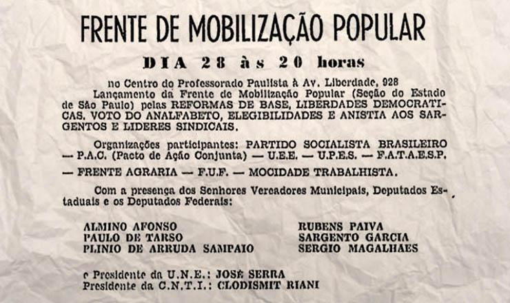 Panfleto convocando para o lançamento da FMP