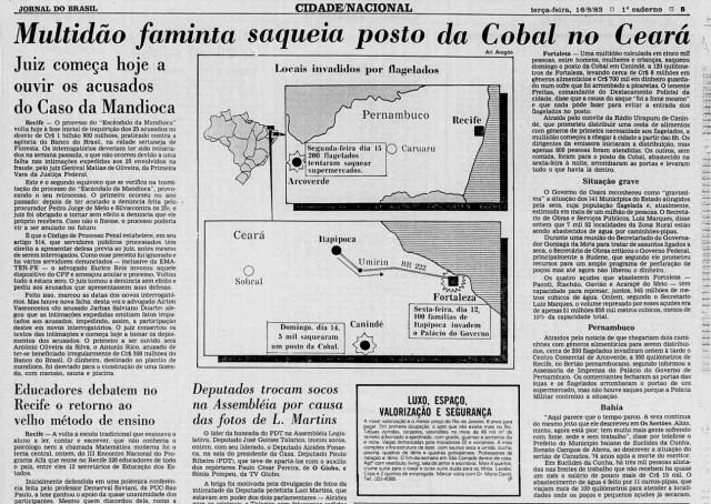 Jornal do Brasil de 16 de agosto de 1983: Multidão faminta saqueia posto da Cobal no Ceará. Ao lado, textos falam da situação grave em outros estados