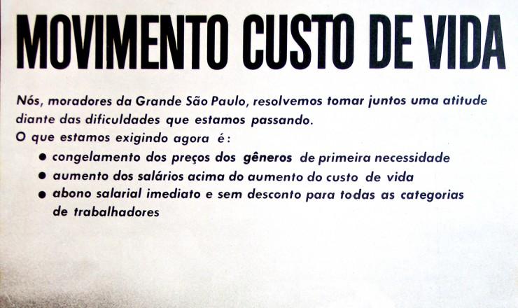<strong> Cartaz do Movimento </strong> do Custo de Vida, organizado pelas Comunidades Eclesiais de Base (CEBs)