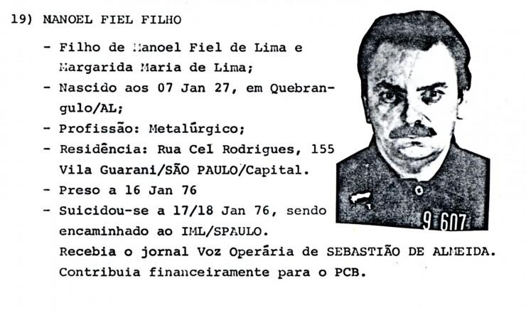 <strong> Documento do prontuário</strong> de Manoel Fiel Filho no Departamento de Ordem Política e Social (Dops)