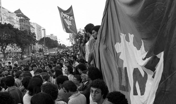 <strong> Manifesta&ccedil;&atilde;o contra a demoli&ccedil;&atilde;o</strong> do pr&eacute;dio da UNE, no bairro do Flamengo, no Rio
