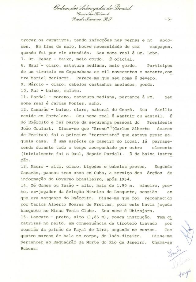 Relatório de Inês Etienne Romeu à Comissão de Direitos Humanos do Conselho Federal da OAB