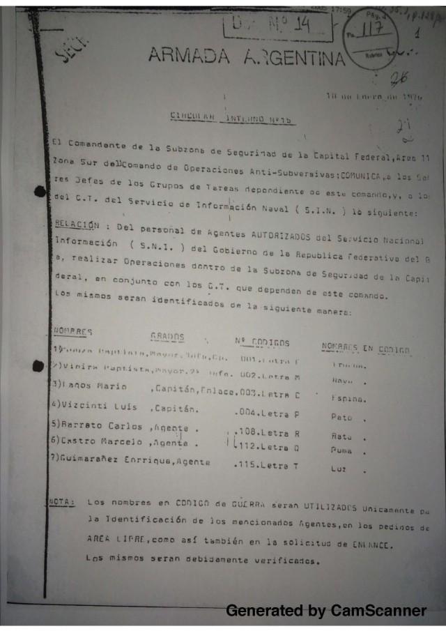 Documentos da repressão argentina sobre Tenório Jr. encaminhados à Embaixada do Brasil