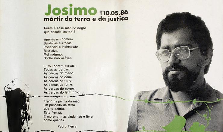 <strong> Cartaz da CPT </strong> em homenagem a padre Josimo, assassinado a mando de propriet&aacute;rio de terras em Imperatriz (MA)