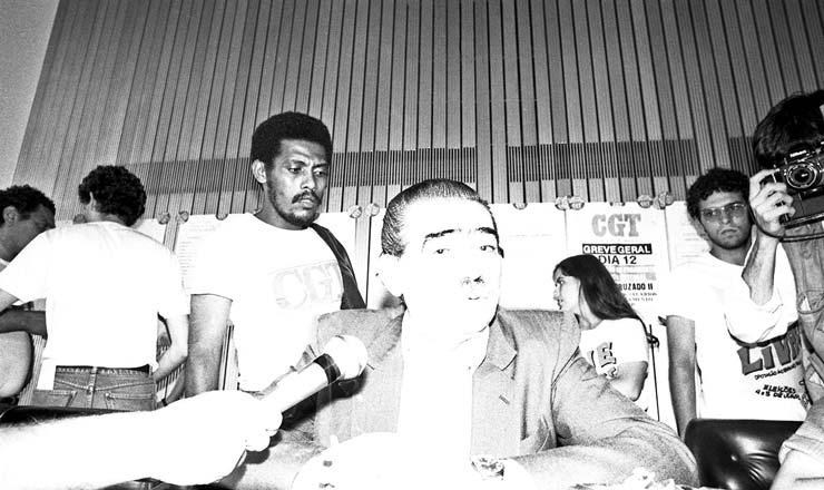 """<strong> Joaquim dos Santos Andrade,</strong> o Joaquinzão, presidente da Central Geral dos Trabalhadores (CGT), entidade sindical de orientação moderada que também criticou o Plano Cruzado 2: """"Oficializaram a fajutagem"""""""