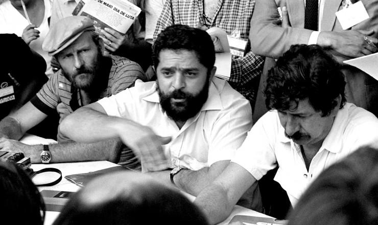 <strong> Avelino Ganzer, Lula e Jac&oacute; Bittar</strong> (da esq. para a dir.) no encontro que fundou a Central &Uacute;nica dos Trabalhadores