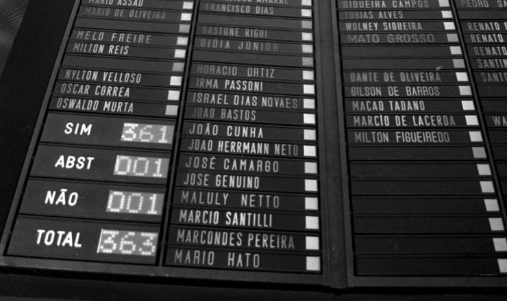 <strong> Placar do Congresso Nacional, </strong> com os votos dados ao &nbsp;texto do Emend&atilde;o, aprovado por&nbsp;quase unanimidade&nbsp;