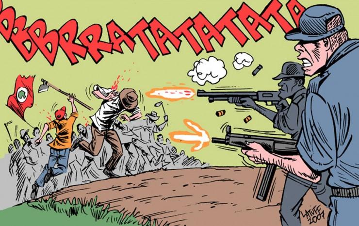 <strong> Ilustra&ccedil;&atilde;o do cartunista Carlos Latuff,</strong> de 2007, retrata o massacre de trabalhadores sem terras em Eldorado dos Caraj&aacute;s