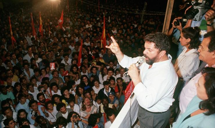 <strong> Lula fala em com&iacute;cio</strong> da campanha eleitoral &agrave; Presid&ecirc;ncia da Rep&uacute;blica em 1989  &nbsp;