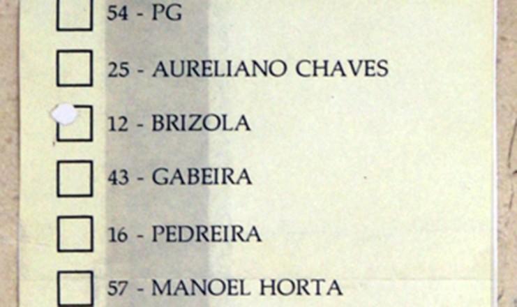 <strong> C&eacute;dula eleitoral </strong> com os nomes dos 22 candidatos &agrave; Presid&ecirc;ncia da Rep&uacute;blica na elei&ccedil;&atilde;o de 1989