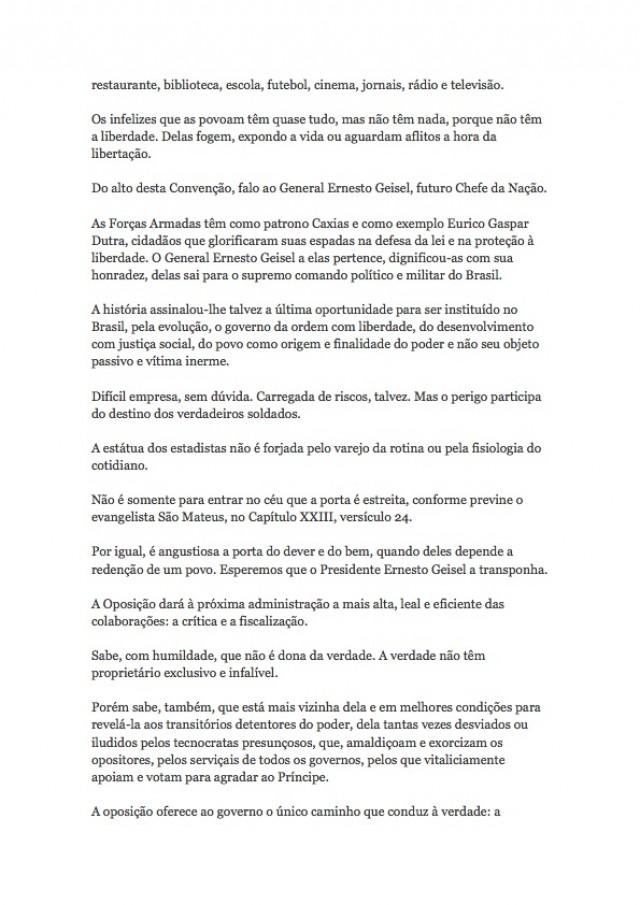 Íntegra do discurso de Ulysses Guimarães, anticandidato a presidente da República, na convenção do MDB