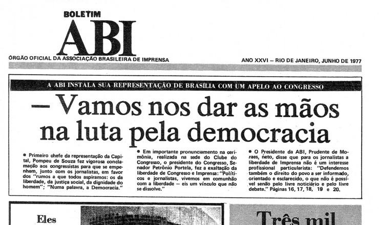 <strong> Capa do &quot;Boletim ABI&quot;, </strong> que traz not&iacute;cia sobre o lan&ccedil;amento do manifesto contra a censura