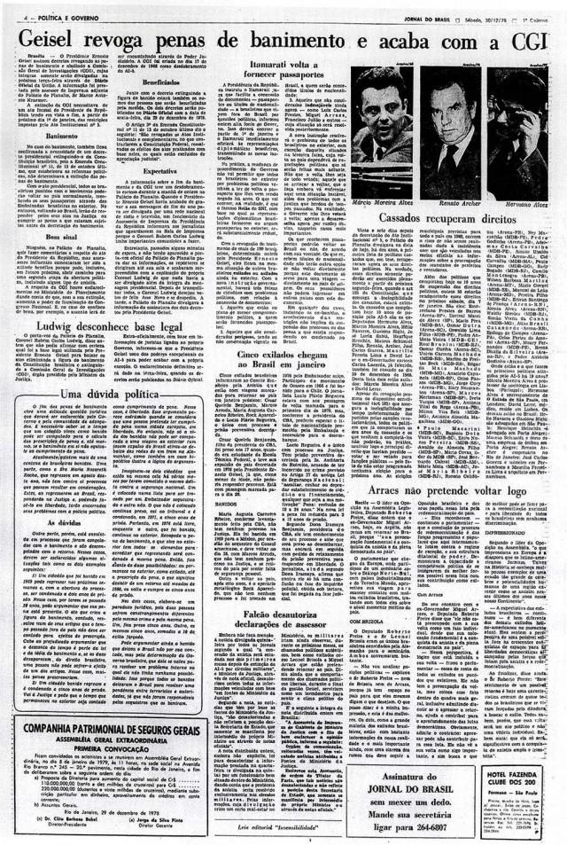 Reportagem trata dos decretos assinados pelo general presidente Geisel para acabar com medidas do regime antes da entrada em vigor da Emenda n° 11, em 1° de janeiro de 1979