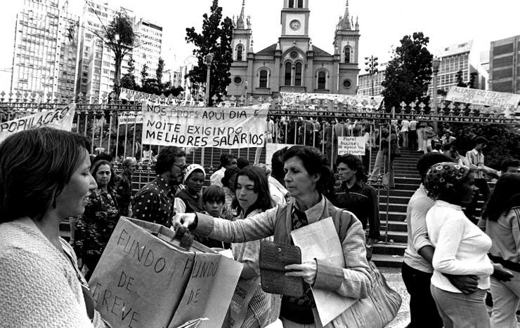 <strong> Professoras de Belo Horizonte</strong> em manifesta&ccedil;&atilde;o durante a greve da categoria, em junho de 1979