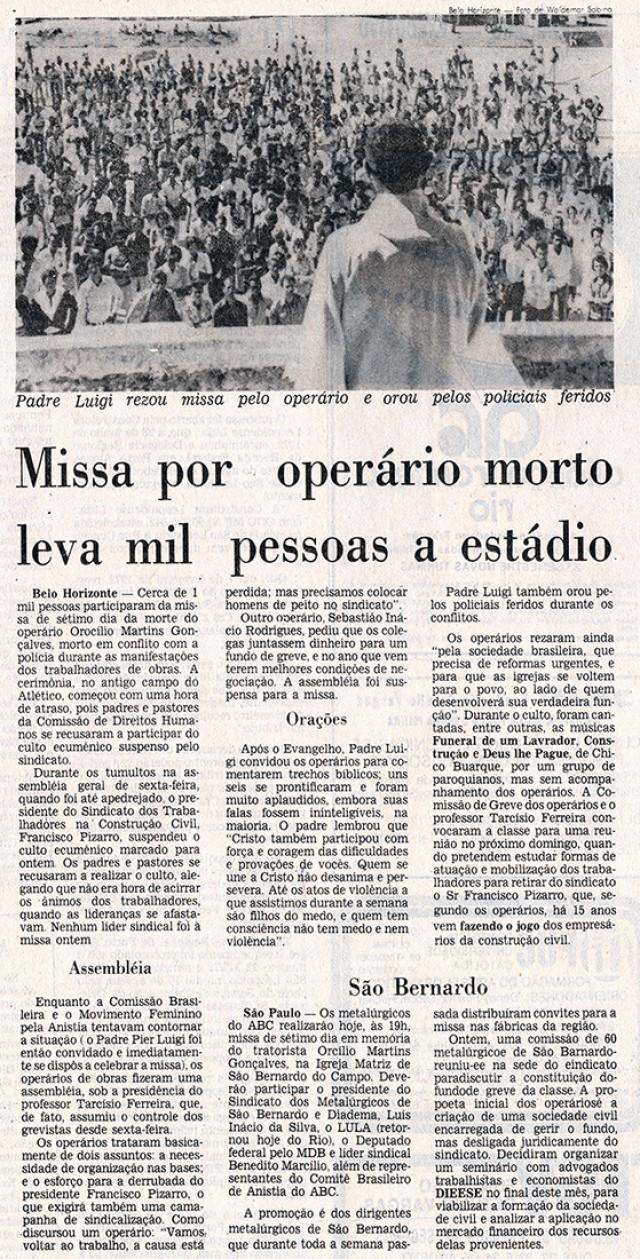 Trabalhadores fizeram missa para Orocílio Martins Gonçalves, operário morto pela PM