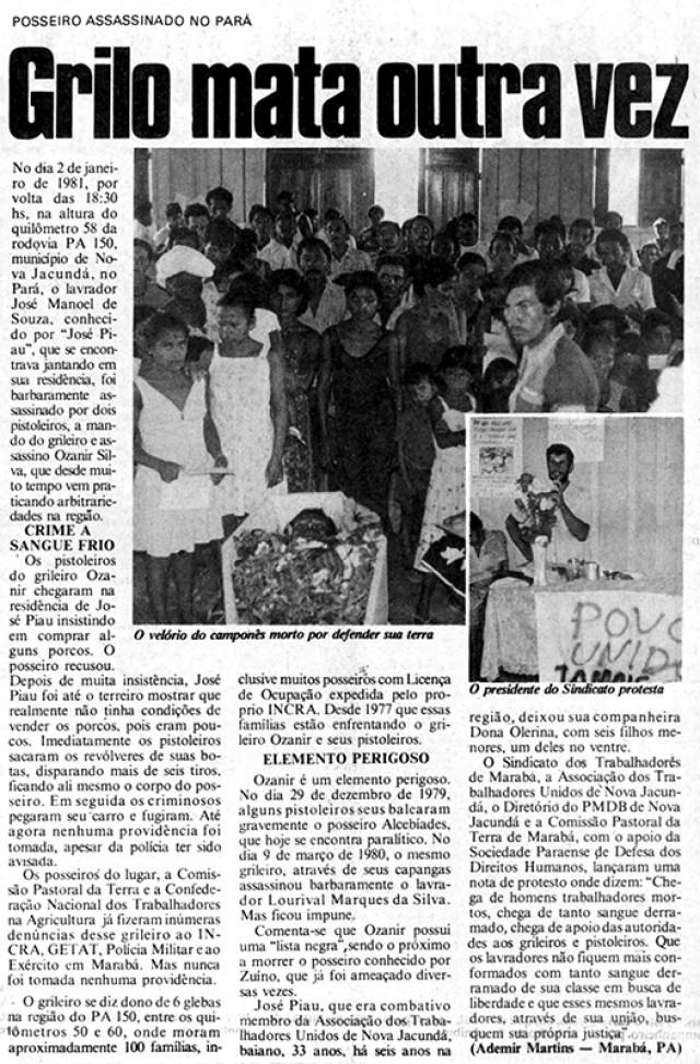 """O jornal """"Tribuna da Luta Operária"""" relata o assassinato de José Manuel de Souza, o Zé Piau, a mando de grileiro da região"""