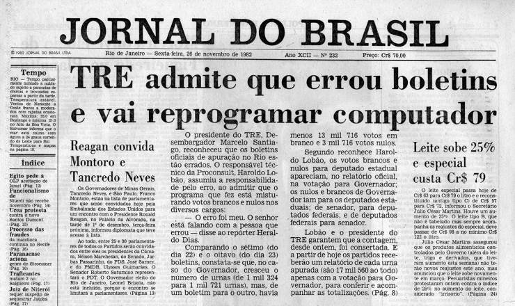 <strong> Depois das den&uacute;ncias de Brizola,</strong> TRE do Rio reconhece &quot;erro&quot; na contagem de votos