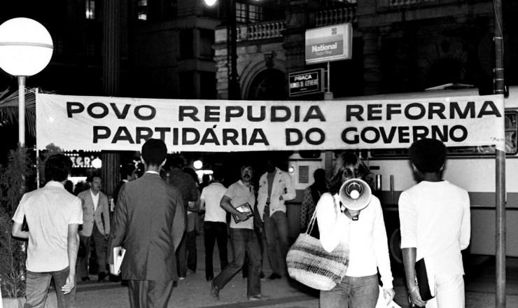 <strong> Manifestação do MDB</strong> no centro de São Paulo contra a reforma partidária