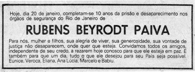 Anúncio da missa  de 10 anos da morte de Rubens Paivapublicado no Jornal do Brasil em 20/01/1981