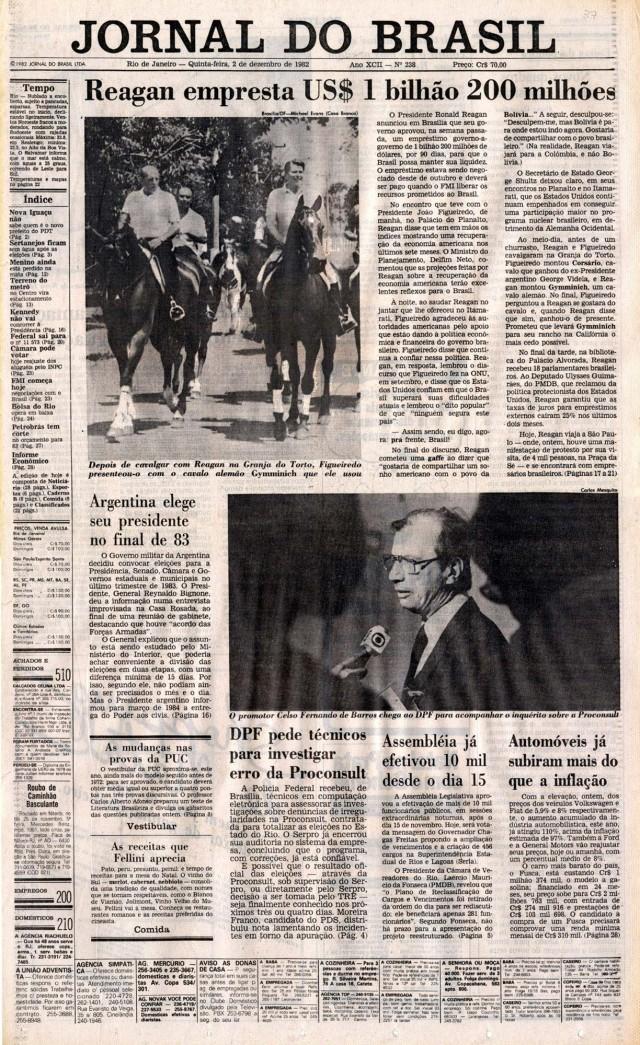 Reagan visita a Granja do Torto, anda a cavalo e empresta US$ 1,2 bilhão ao Brasil