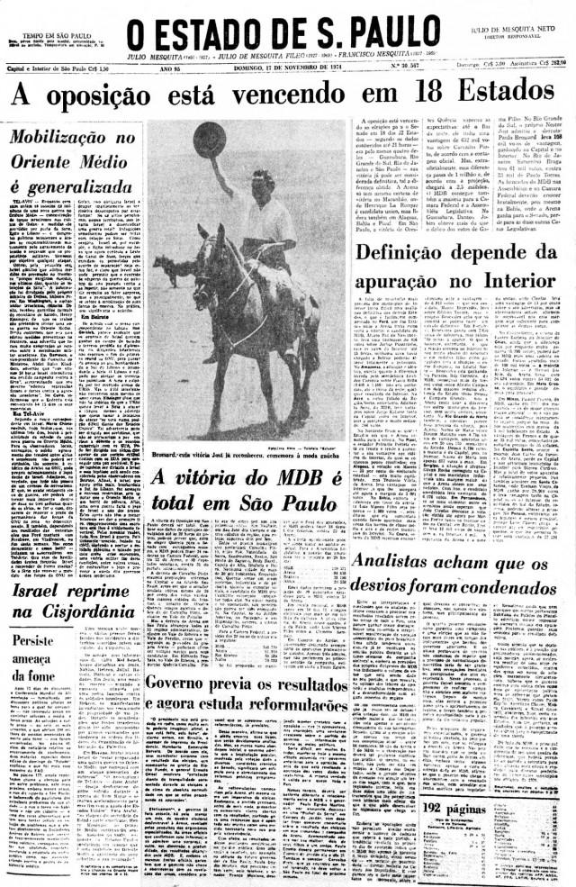 """Manchete de """"O Estado de S. Paulo"""" de 17 de novembro aponta para vitória do MDB no Senado"""