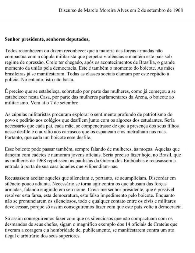 Discurso de Márcio Moreira Alves na Câmara dos Deputados