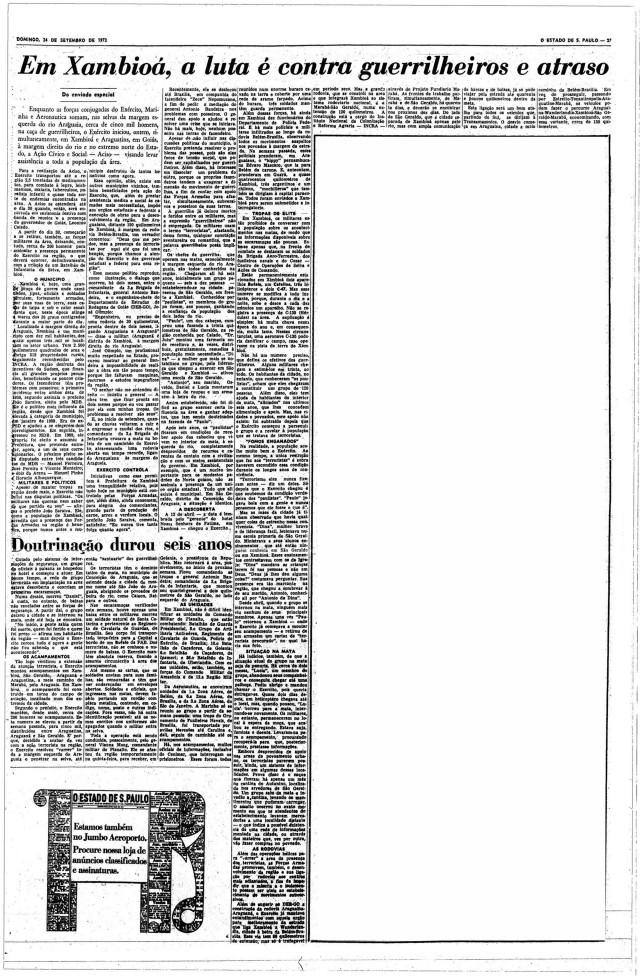 """Reportagem de Henrique Gonzaga Júnior, em """"O Estado de S.Paulo"""" de 24 de setembro de 1972, revelou que havia uma luta armada no Araguaia; dois dias depois, o """"The New York Times"""" publicaria que uma guerrilha estava em curso na Amazônia brasileira"""