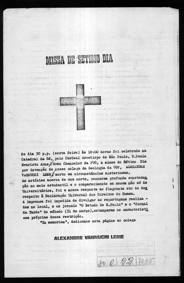 Panfleto sobre a missa de Alexandre Vannucchi Leme